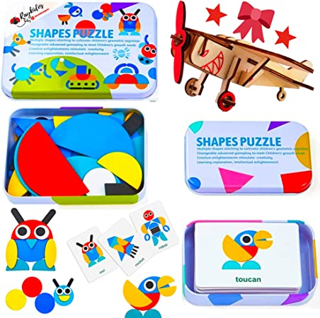 ExcelGadgets Wooden Pattern Blocks Educational Toys Animal Games Shapes Puzzle STEM Toys for 3 4 5 Year Old, 60 Shapes and - Bonus 3D Plane