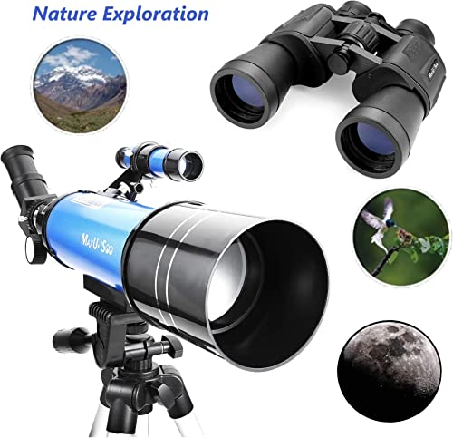 MaxUSee Travel Scope with Backpack – 70mm Refractor Telescope 10X50 HD Binoculars Bak4 Prism FMC Lens for Moon Viewing Bird Watching Sightseeing