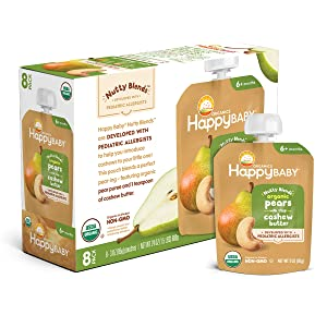 Happy Baby Organics Nutty Blends Organic Pears with 1 tsp Cashew Butter 3 oz Pouch (Pack of 8)