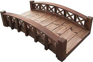 product image for SamsGazebos Swan Wood Garden Bridge with Cross Halved Lattice Railings, 4', Brown