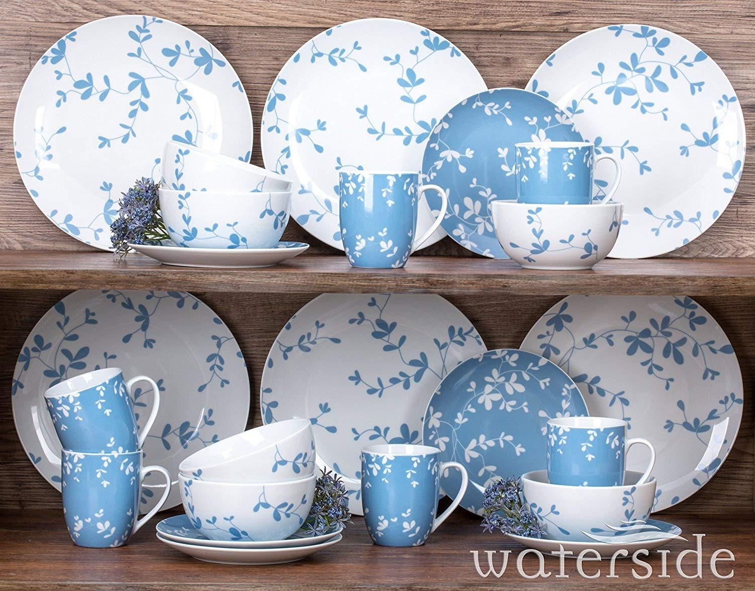 24 Piece Blue Meadow Dinner Set Waterside Fine China