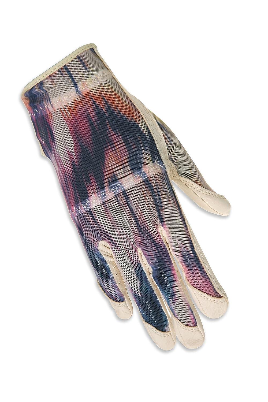 HJグローブWomen 's Right Hand Solaireフル長ゴルフグローブ、Large、クリーム波   B01GFN59HY
