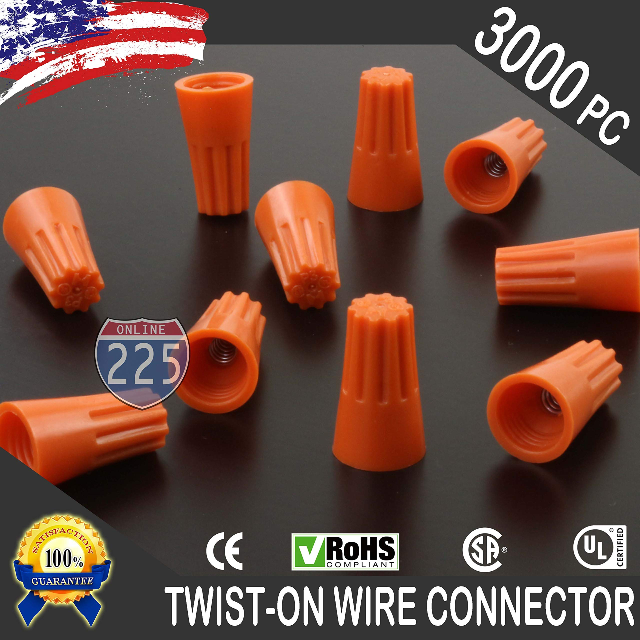 3000 PCS Orange 22-14 Gauge Twist On Wire Gard Connectors Conical Nuts Barrel Screw US
