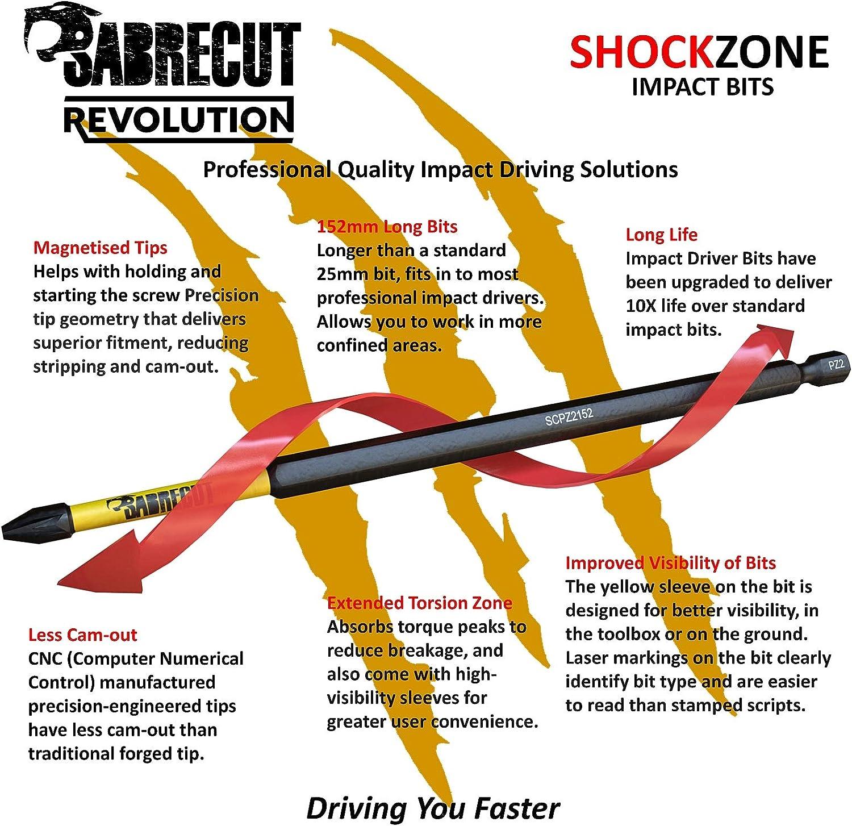 SabreCut SCTX40152/_5 T40 TX40 Juego de 5 puntas de destornillador de impacto magn/éticas Torx resistentes para Dewalt Milwaukee Bosch Makita y m/ás