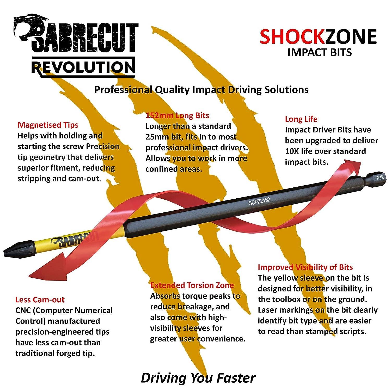 SabreCut SCPZ3152/_10 PZ3 Juego de 10 puntas de destornillador de impacto magn/éticas Pozi Pozidrive para Dewalt Milwaukee Bosch Makita y m/ás