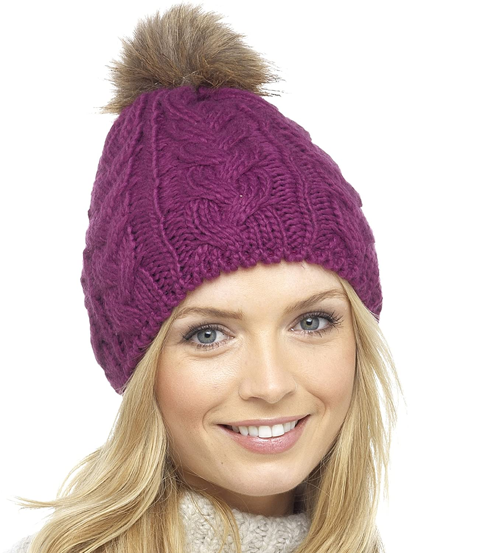 41746f63535 Foxbury Ladies Chunky Knit Hat with Detachable Faux Fur Bobble Blue   Amazon.co.uk  Clothing