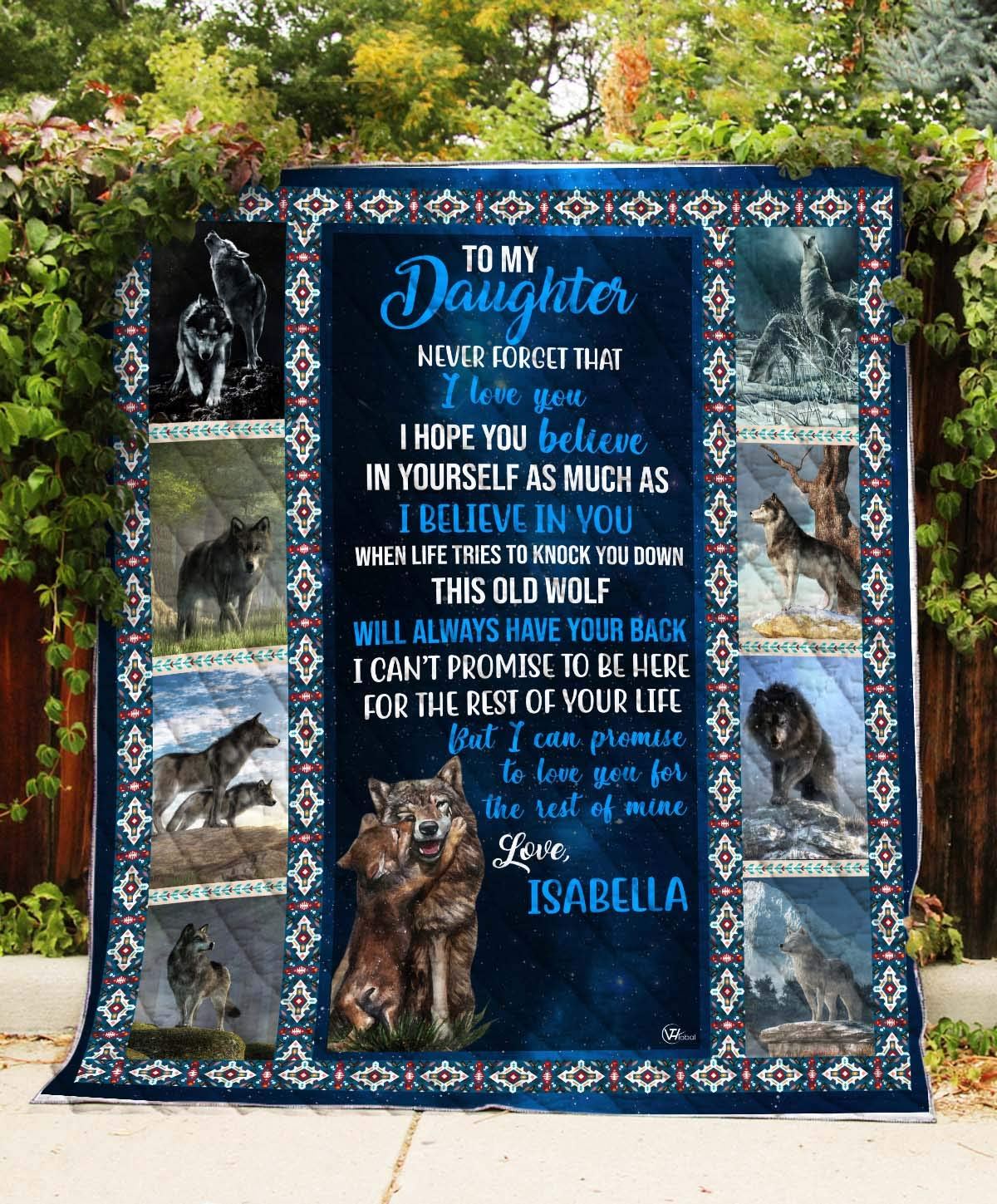 Personalized Custom Name To My Daughter This Old Wolf I Love You Quilt Fleece Throw Blankets Comforters Tapestry Christmas Birthday Little Girls Kids Gifts from Mom Mommy Mother Dad Daddy Father