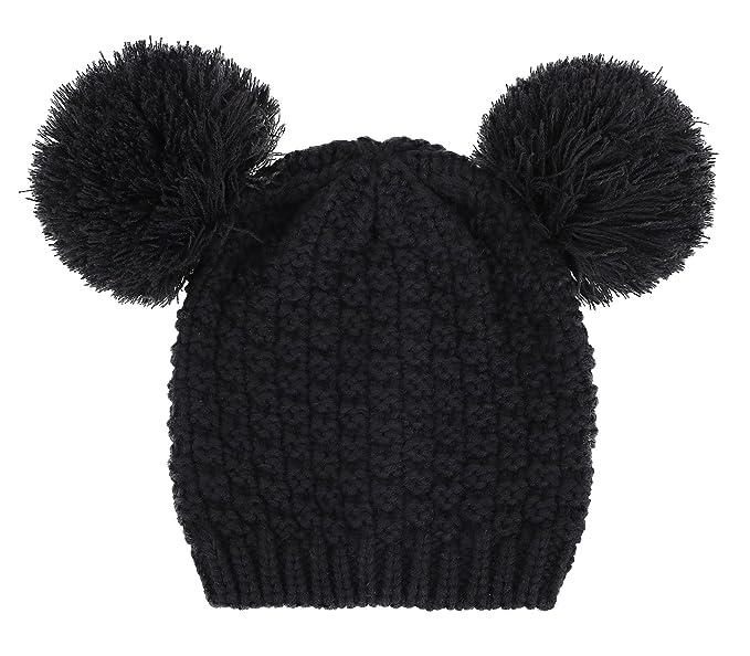 Simplicity Women s Cute Knit Fuzzy Pompom Winter Beanie Hat 4b1139f0559