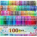 Glitter Gel Pens, 100 Color Glitter Pen Set for Making Cards, 30% More Ink Neon Glitter Gel Marker for Adult Coloring…