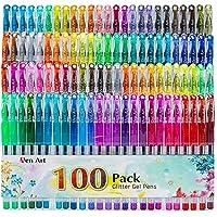 Glitter Gel Pens, 100 Color Glitter Pen Set, 30% More Ink Neon Glitter Coloring Marker for Adult Coloring Books Bullet…