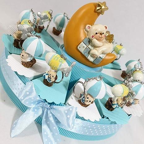 Sindy Bomboniere 8054382130 Tarta BOMBONIERA Nacimiento Bautizo niño, Resina, Azul, 3 x 4.5