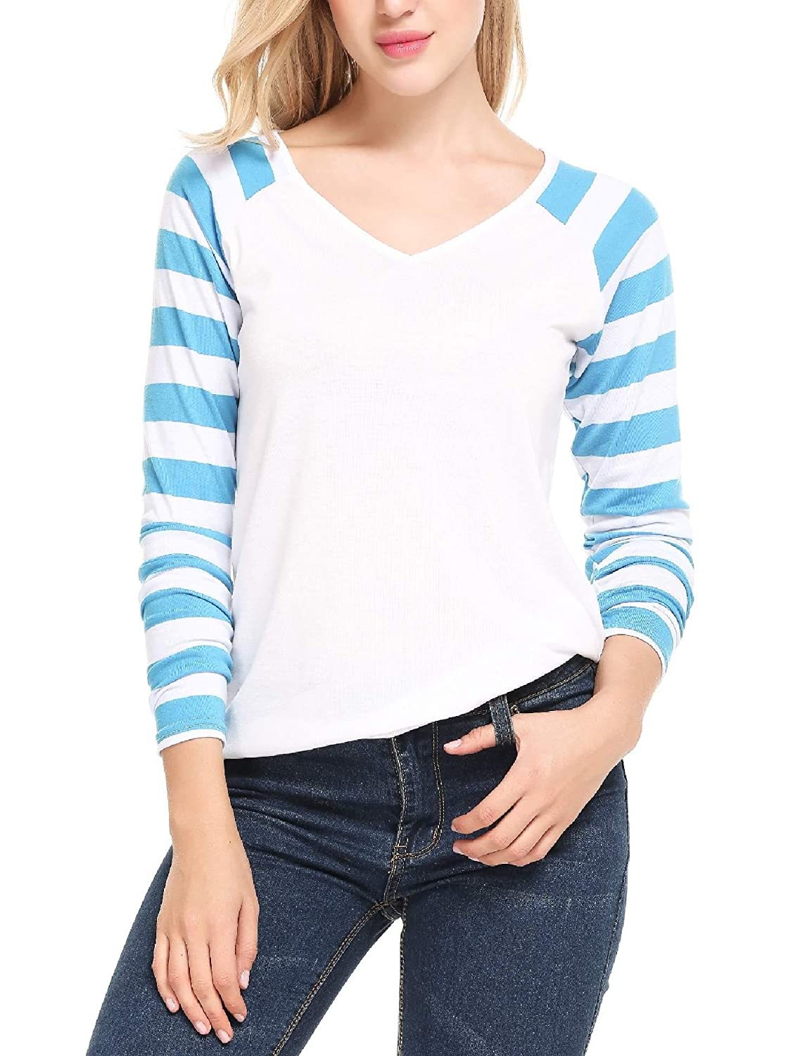 625d462491 Zeagoo Women Casual Striped Raglan Sleeves V Neck Baseball Tee T Shirt at Amazon  Women's Clothing store: