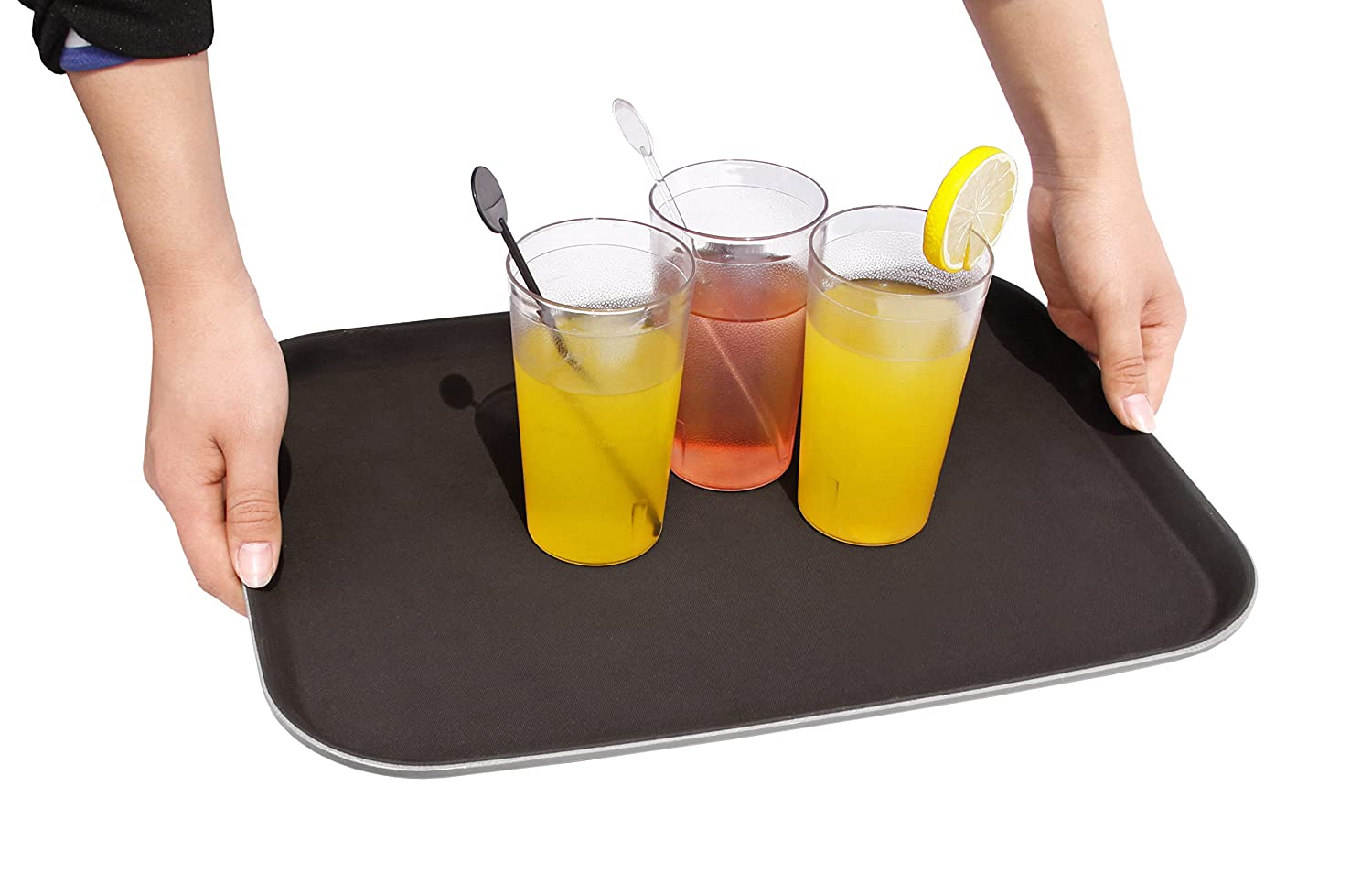 New Star Foodservice 25095 Non-Slip Tray, Plastic, Rubber Lined, Rectangular, 14 x 18 inch, Black
