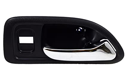 without Power Window Switch Hole Passenger Side Front 4-Door Sedan PT Auto Warehouse HO-2579MAFR2 Inside Interior Inner Door Handle Black Housing with Chrome Lever