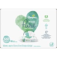Baby Wipes, Pampers Aqua Pure Sensitive Water Baby Diaper Wipes, Hypoallergenic and Unscented, 10X Pop-Top Packs, 560…