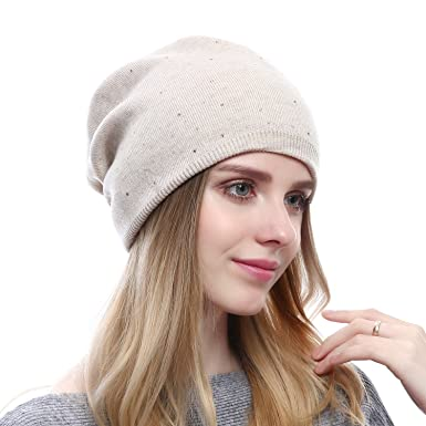 81fd51b9126 Women Wool Beanie Hat - Winter Wool Skullies Beanies Fashion Ski Cashmere  Hats Oversized Cap (Beige)  Amazon.in  Clothing   Accessories