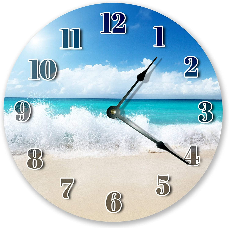 Amazon.com 12Jo12Poe 12 inch Clear Blue Ocean Wave Clock Beach ...