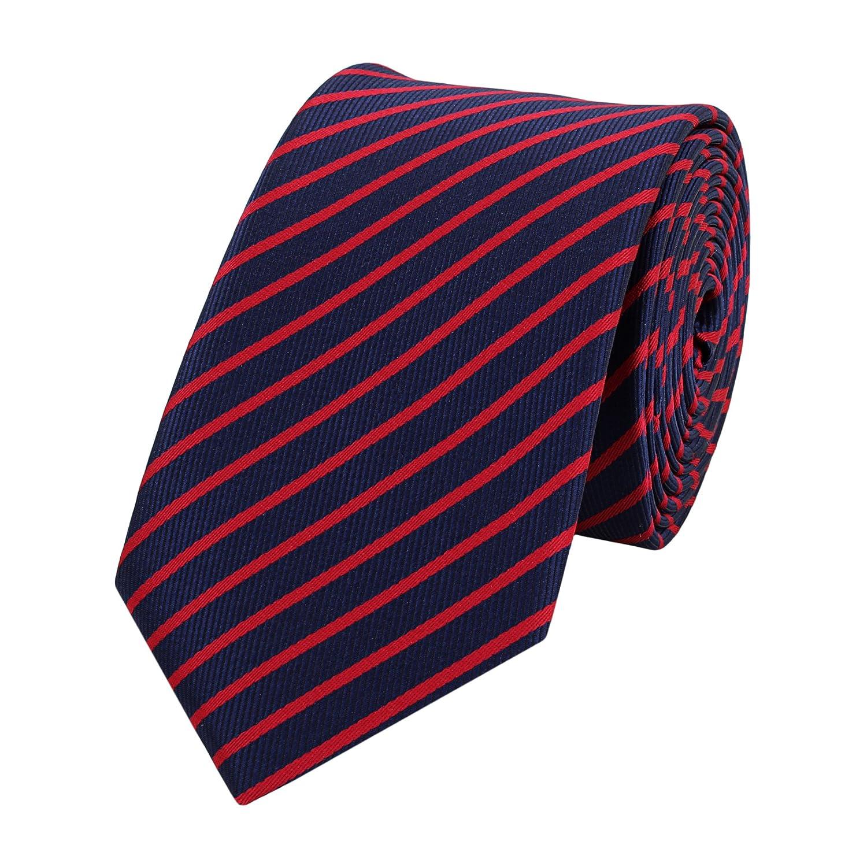 Schmale 6-cm Slim Krawatte von Fabio Farini in verschiedenen Farben, geeignet für Arbeit, Hochzeit oder Ball geeignet für Arbeit Blau-Schwarz-Weiß 1001653