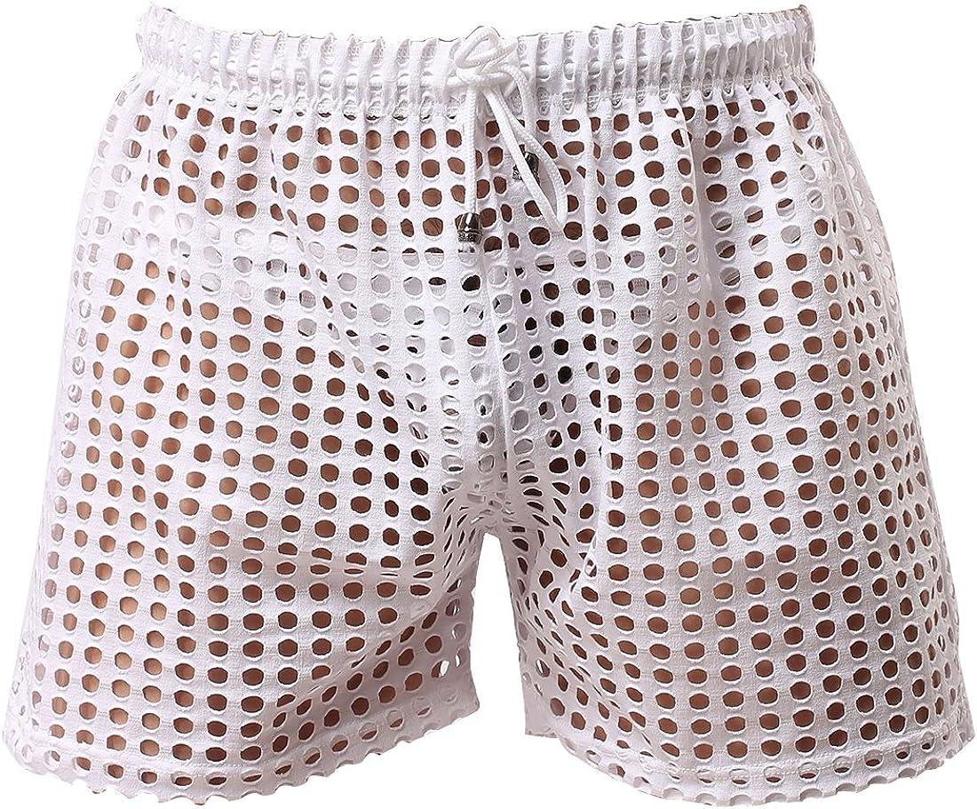 iiniim Men's Hollow Openwork Boxer Drawstring Lounge Shorts Swim Shorts Underwear