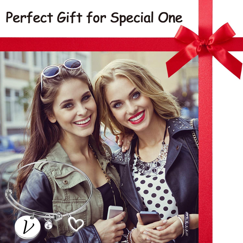 EIGSO Initial Bracelet Letter Bracelet with Heart Charm Memory Bracelet Jewelry Gift for her /… /…