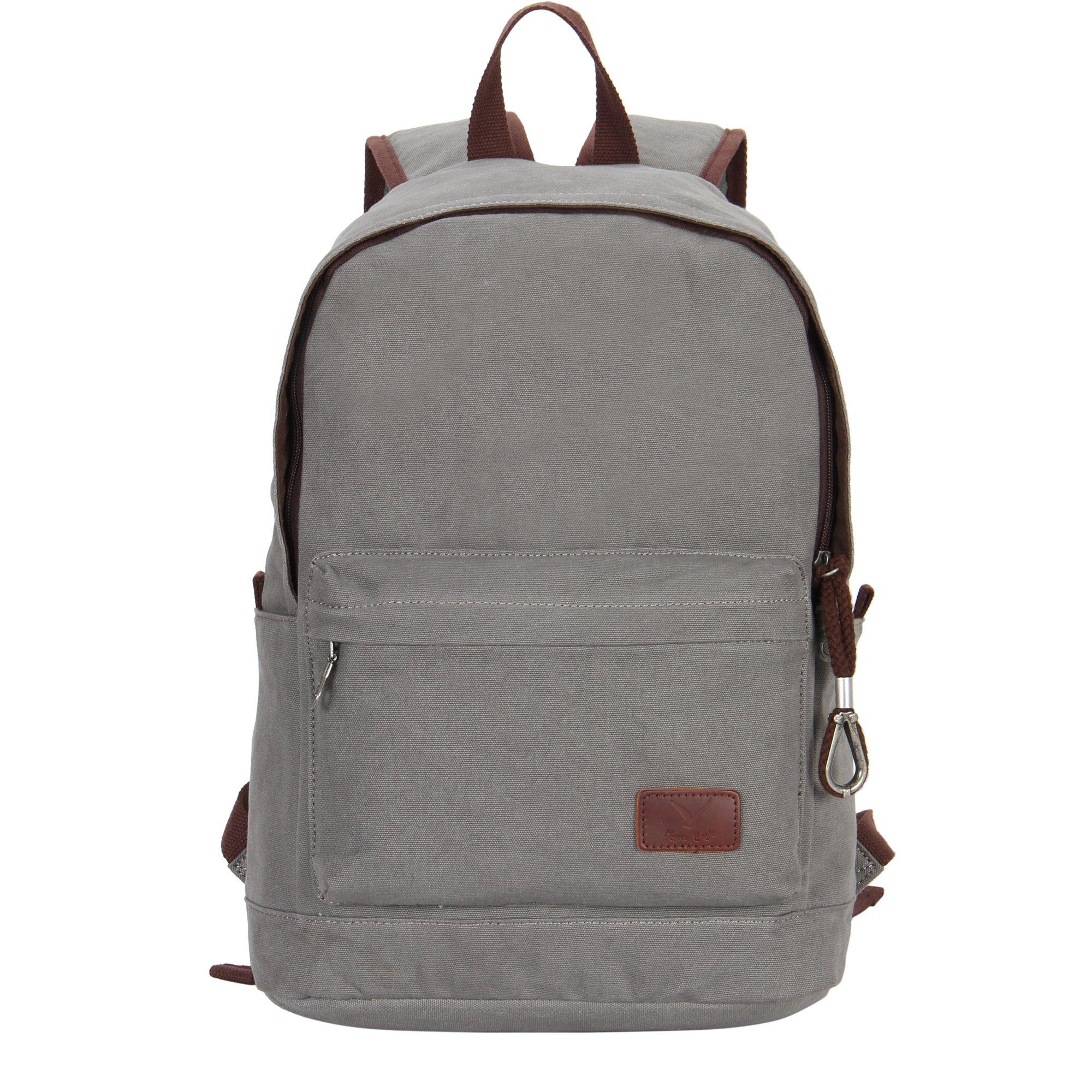 Hynes Eagle Unisex Casual Daypack Canvas School Bag Travel Backpack 23 Liters Black Grey