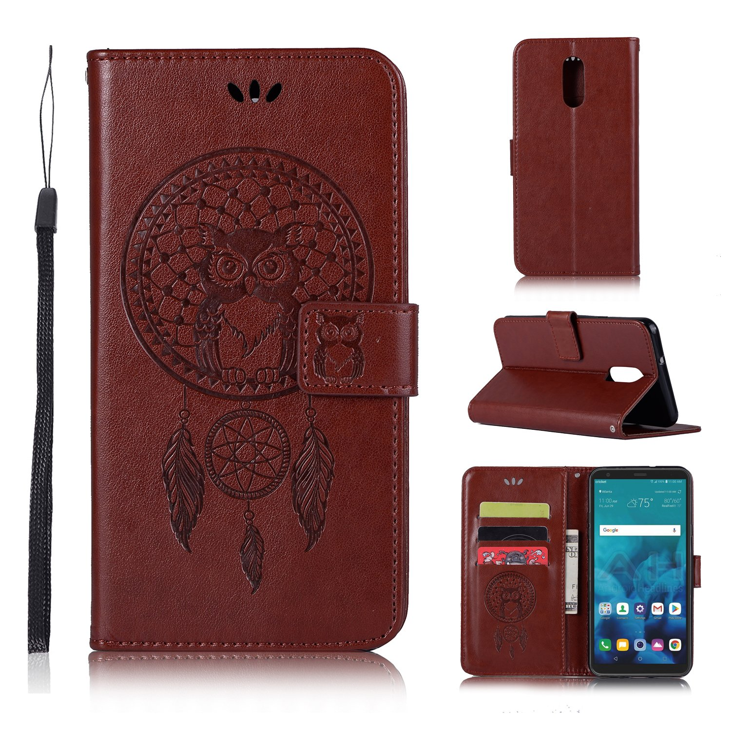LG Stylo 4 Case,LG Q Stylus Case,LG Stylo 4 Plus,Stylus 4 Wallet Case,PU leather Case Owl Dreamcatcher Pattern Embossed Purse with Kickstand Flip Cover Card Holders Hand Strap for LG Stylo 4 Black A-slim