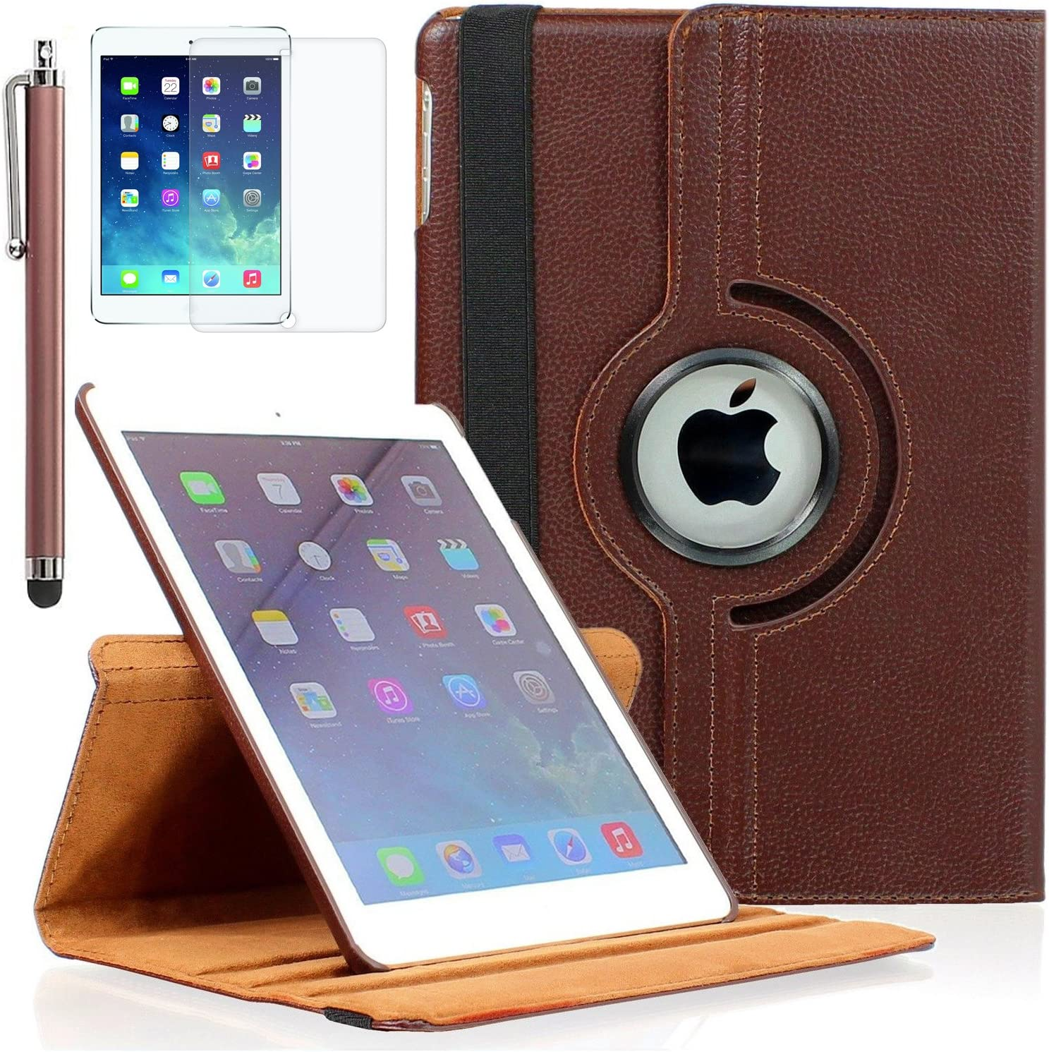 Viero iPad 9.7 Case 2018/2017, iPad Air Case 360 Degree Rotating Multiple Angles Stand Smart Protective Hard Back Auto Sleep Wake Cover for iPad 9.7 inch (6th Gen, 5th Gen)/ iPad Air, Brown