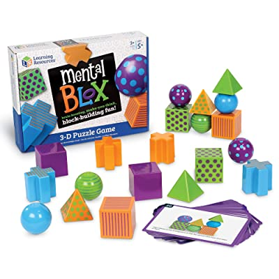 Learning Resources Mental Blox Critical Thinking Game, Homeschool, Easter Basket Game, 20 Blocks, 20 Activity Cards, Ages 5+: Toys & Games