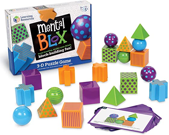 Learning Resources Mental Blox Critical Thinking Game, Homeschool, 20 Blocks, 20 Activity Cards, Ages 5+