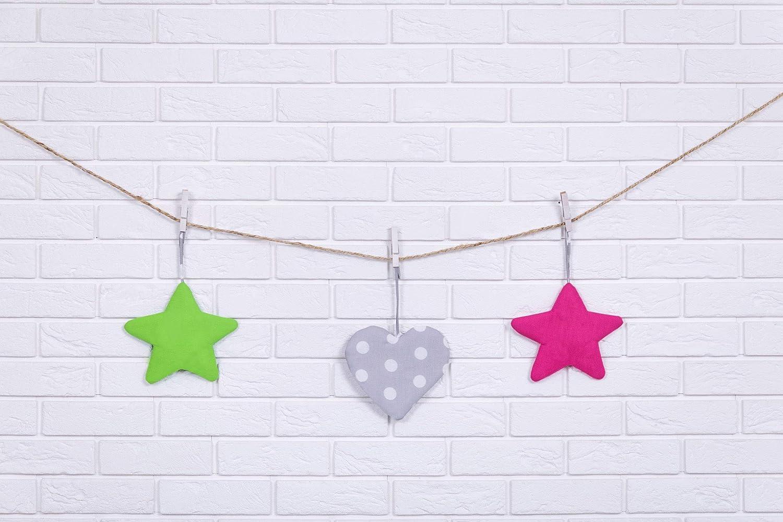 Amilian® Hängedeko Stern Herz Mond 3 Stück Design18 Wanddeko Anhängsel Gehänge Baby für Kinderbett NEU