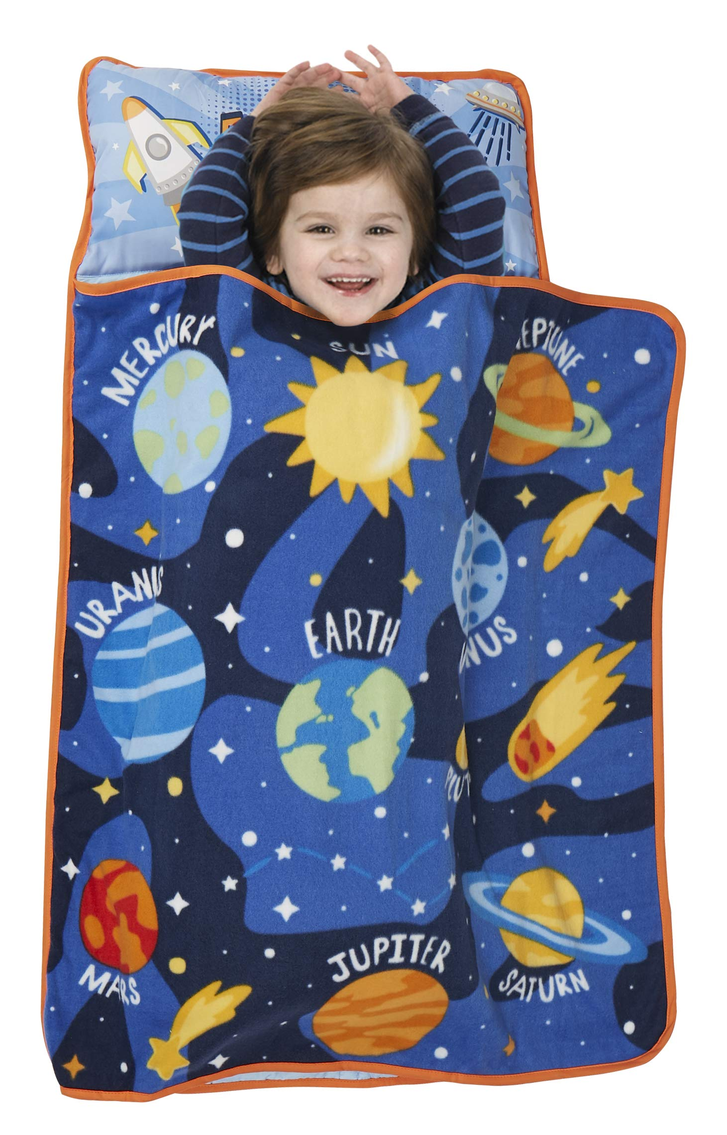 Baby Boom Explore Planets & Outer Space - Kids Nap Mat Set - Includes Pillow and Fleece Blanket - Great for Kids Sleeping at Daycare, Preschool, or Kindergarten - Fits Napping Toddlers or Children by Baby Boom