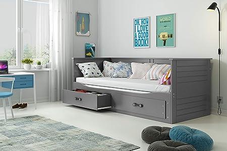 Interbeds Cama Hermes 2 en 1- con Dos cajones, somieres y colchones de Espuma (2X 200x80x10), Color Gris