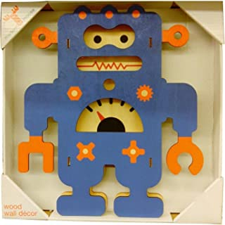 product image for Modern Moose Wood Wall Decor Blue Robot