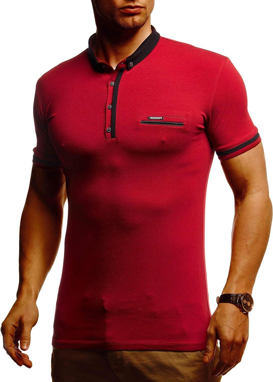 Leif Nelson LN1280 Polo d'été à manches courtes pour homme Coupe slim En coton Noir Rouge Bordeaux