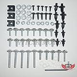 VITCIK Full Fairings Bolt Screw Kits for Honda Honda Suzuki Kawasaki Yamaha Motorcycle Fastener CNC Aluminium Clips (Silver)