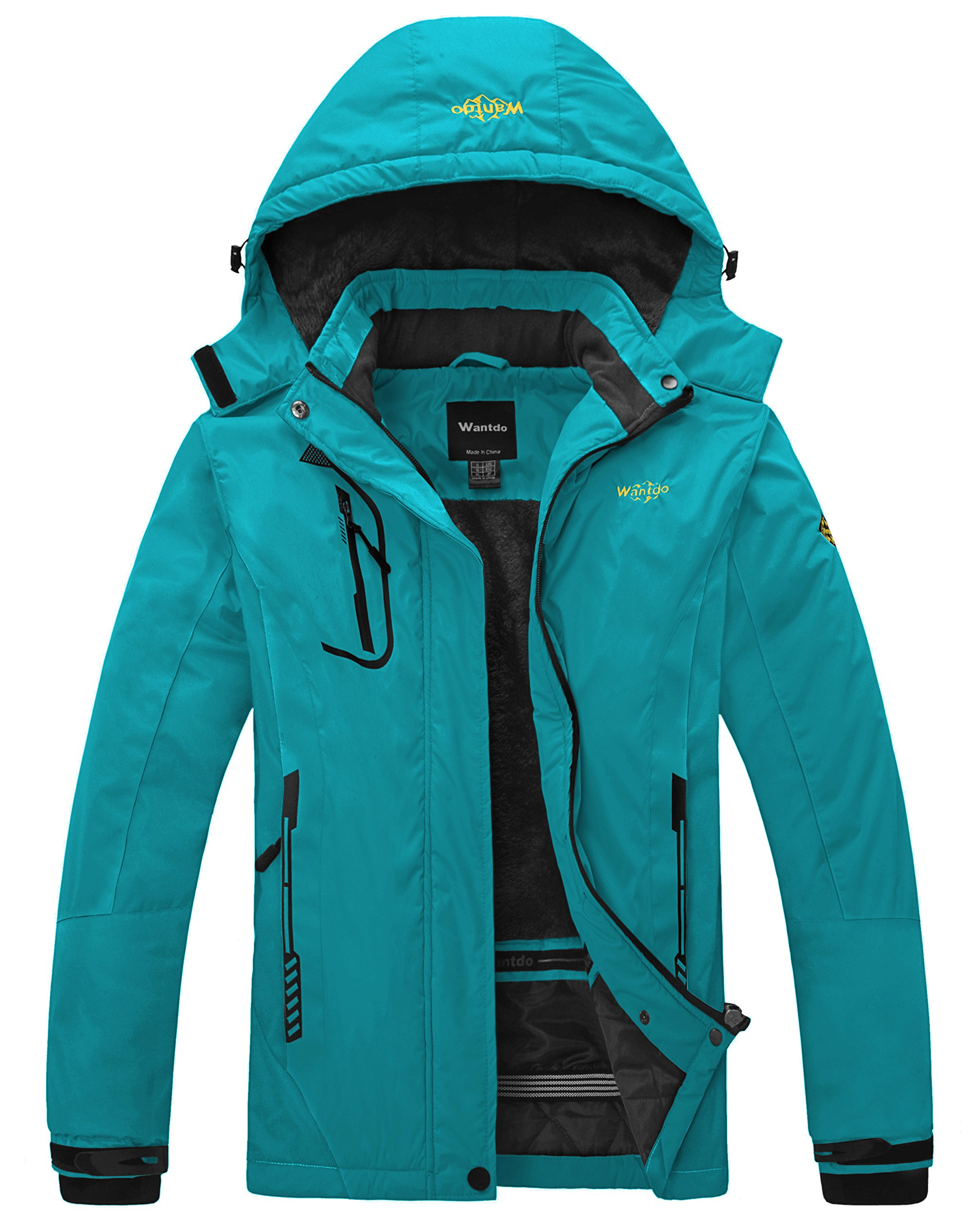 Wantdo Women's Waterproof Mountain Jacket Fleece Windproof Ski Jacket Hooded Jacket Blue Green Medium by Wantdo