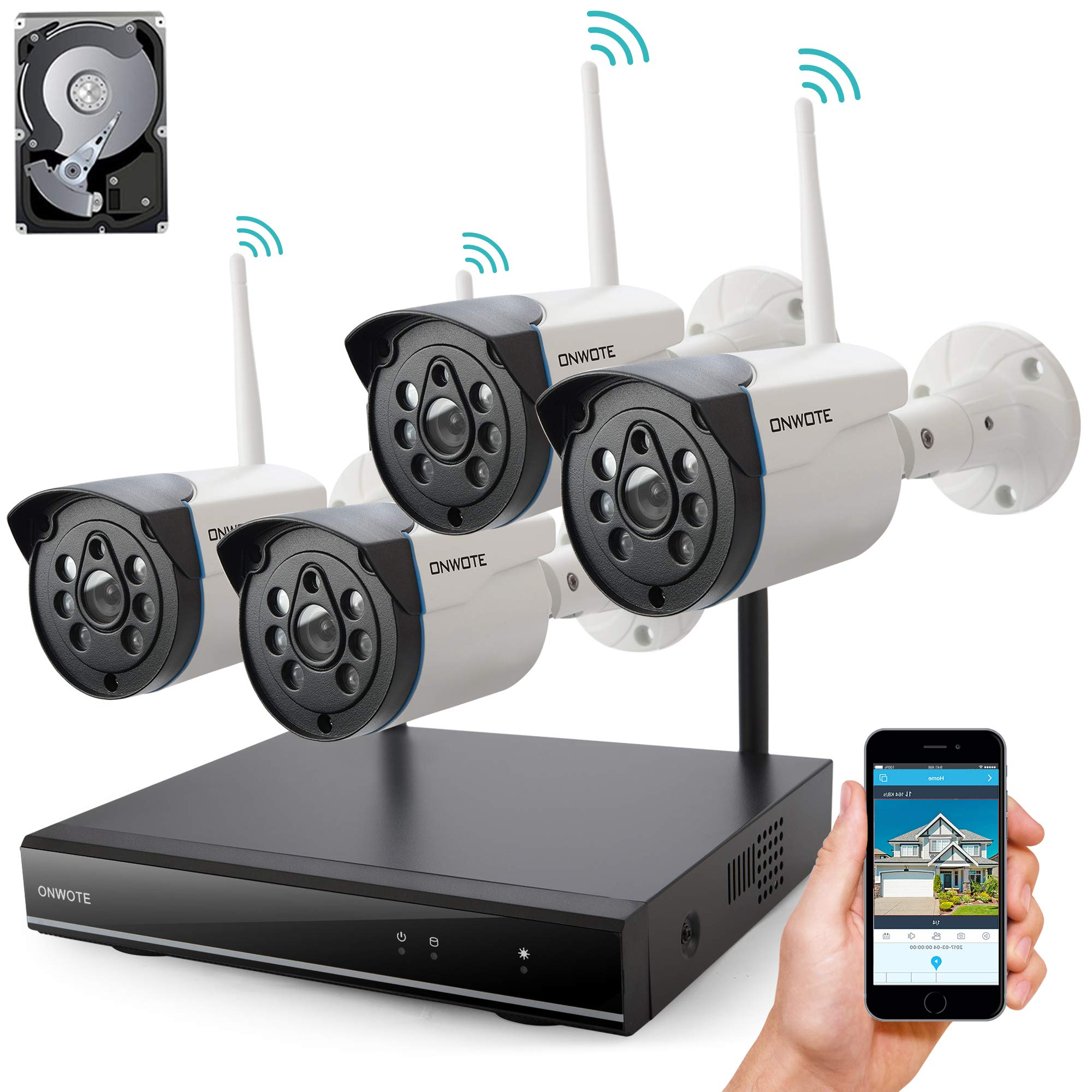 [Expandable] ONWOTE 8CH 1080P NVR 960P HD Outdoor Wireless Home Security Camera System 1TB Hard Drive, 80ft Night Vision, IP66 Weatherproof, Remote Home Monitoring System, Add 4 More Cameras by ONWOTE