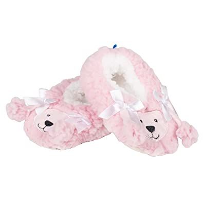 405eac1278f Snoozies Baby Plush Sherpa Animal Booties Pink Size  Large  Amazon ...