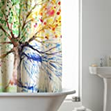 Extra Long Fabric Shower Curtain, RUVALINO 180x200 cm Waterproof Mildew Resistant Polyester Bathroom curtains, 3D Colorful Tree Design