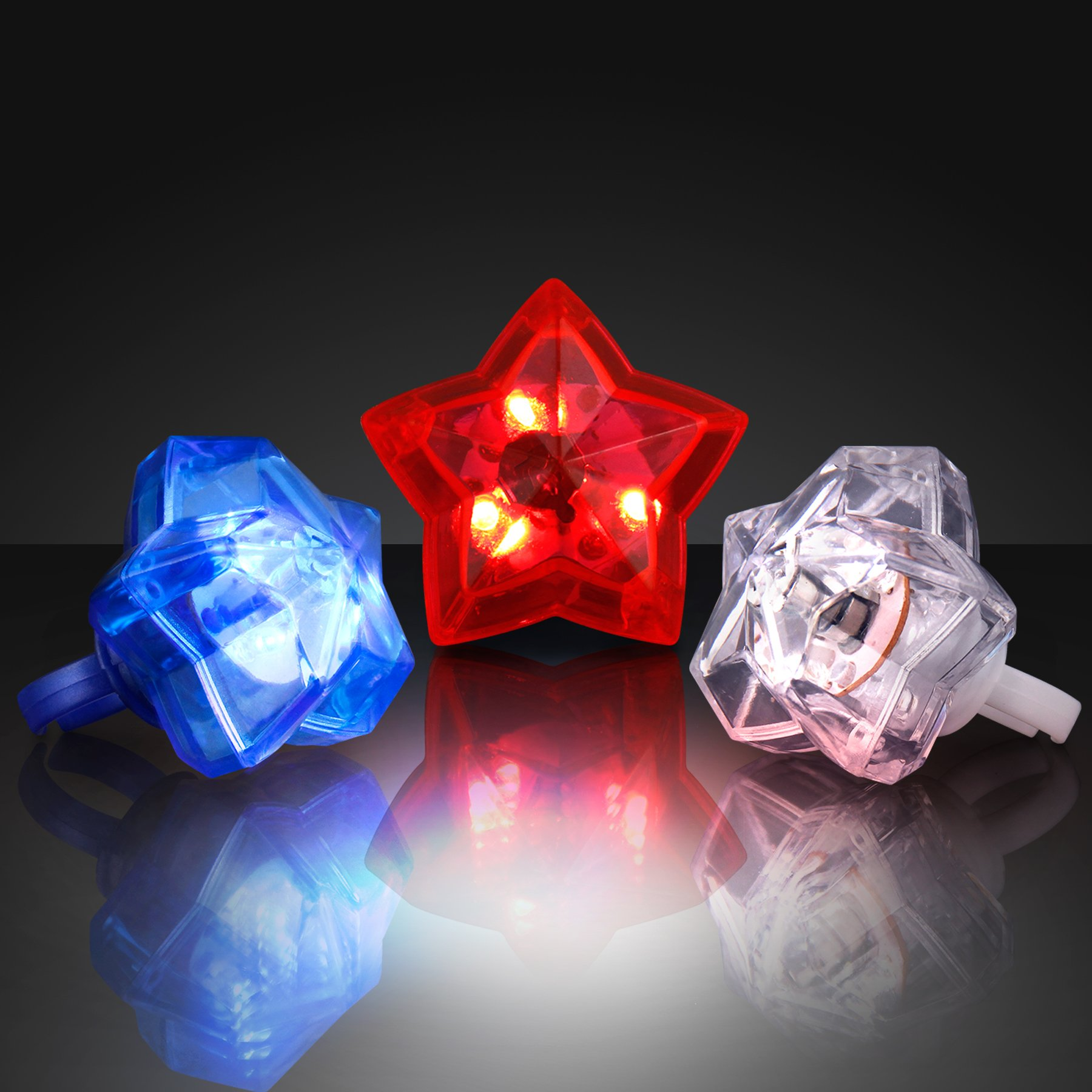 FlashingBlinkyLights Star Shaped Light Up Rings in Red, White & Blue (Set of 24)