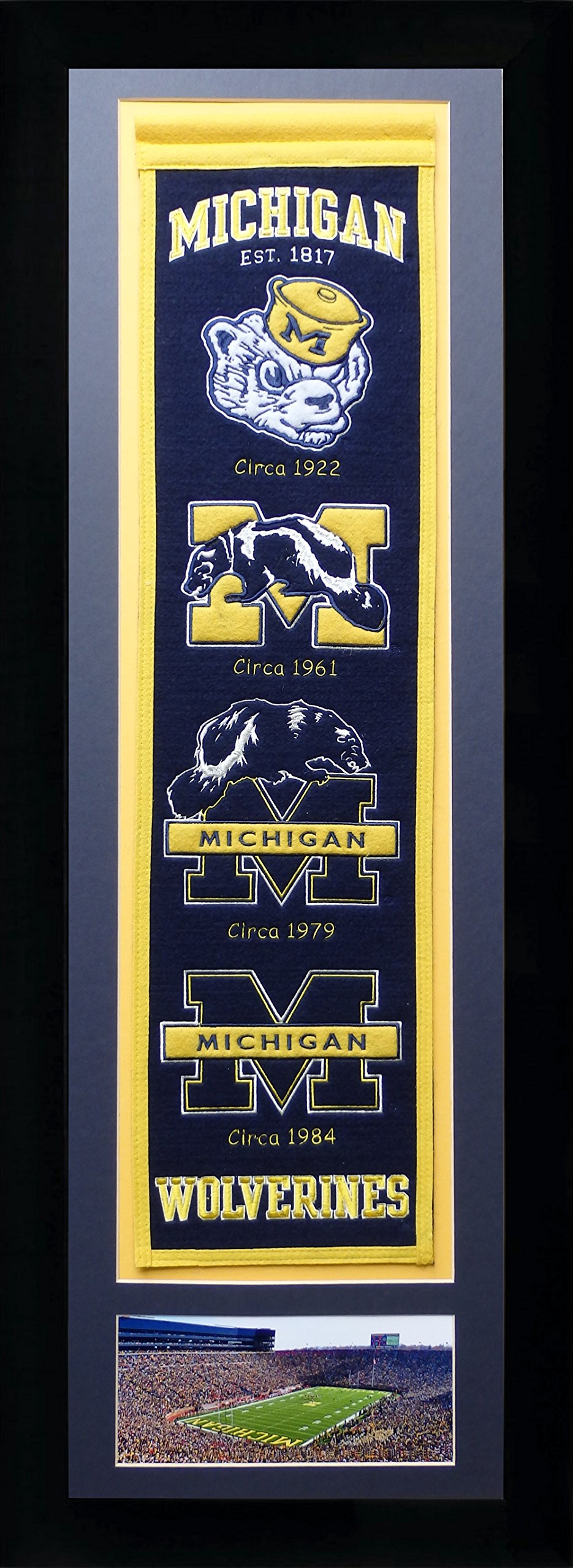 Legends Never Die NCAA Michigan Wolverines Team Heritage Banner with Photo, Team Colors, 15'' x 42'' by Legends Never Die
