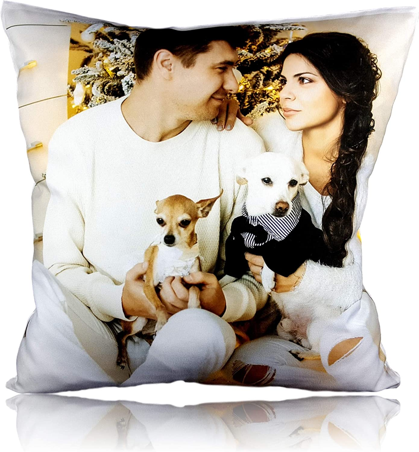 """PERSONALISED LARGE SOFT CUSHION COVER ANY IMAGE 40cm x 40cm 16/""""x16/"""""""
