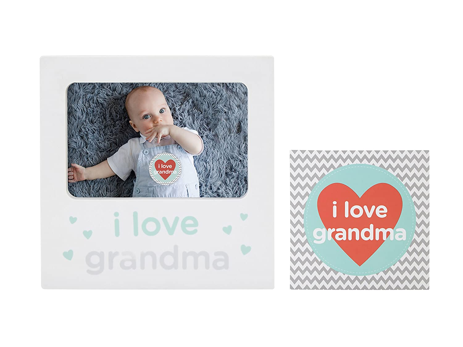 Tiny Ideas I Love Grandma Baby Belly Sticker and Sentiment Keepsake Photo Frame Gift Set, White Pearhead Inc. 96227
