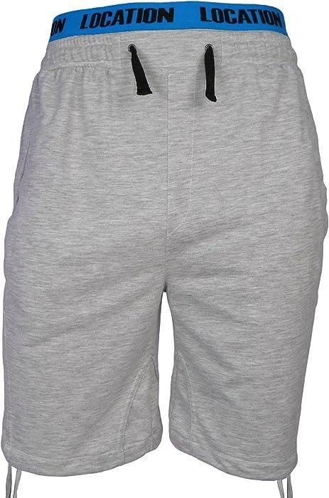 Men//Boys Plain Gym Fleece Jogger 3//4 Long Shorts Elasticated Waist Zip Pockets