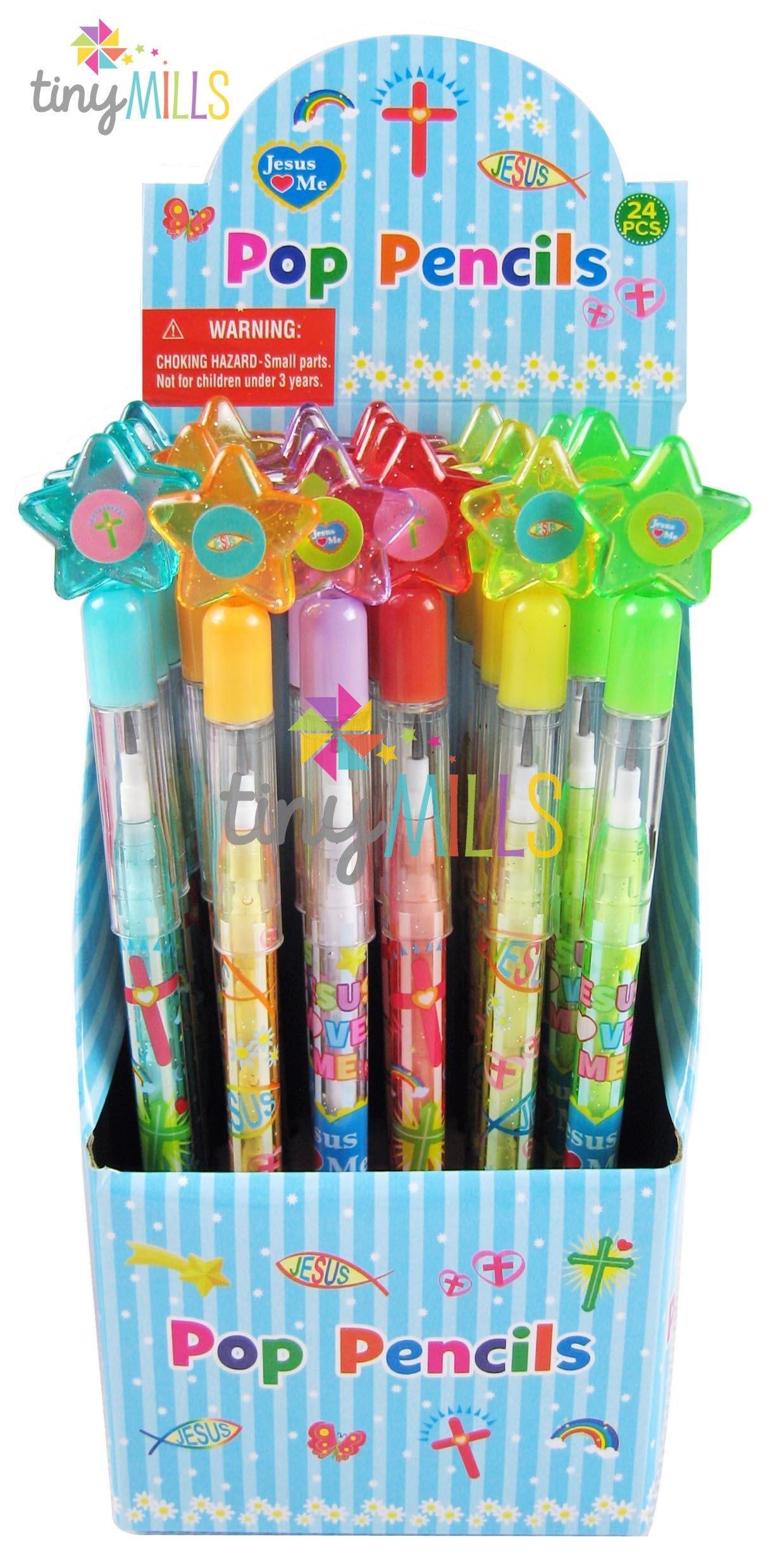 TINYMILLS 24 Pcs Religious Multi Point Pencils