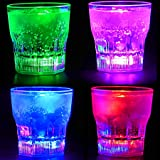 Perfect Pregame LED Light Up Drinking Glasses - 4 Pack Light Up Cups - 4 Mode Solid Color LED Cups - 4 Pack Light Up Drinking