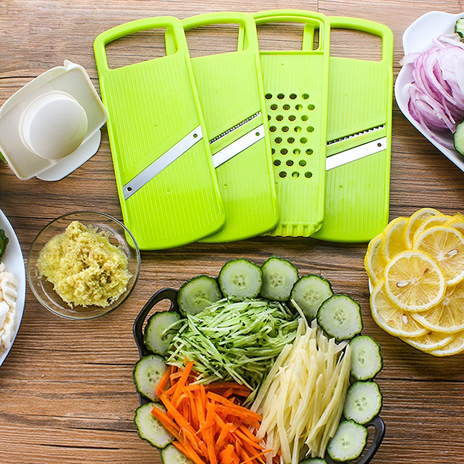 Mandoline Slicer Spiralizer Vegetable Cutter Grater Chopper Julienne Slicer-4 Interchangeable Stainless Steel Blades with Hand Protector, Food Storage Container - For Cucumber, carrot, potato etc