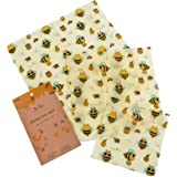 Archie Living Set of 3 Beeswax Wraps Made of Cotton, Beeswax, Jojoba Oil, Tree Resin Food Wrap Reusable Biodegradable Alternative to Cling Film, Plastic, Paper Sandwich Bags & Silicone Food Covers