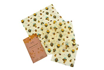 Archie Living Set of 3 Beeswax Wraps Made of Cotton, Beeswax, Jojoba Oil,  Tree Resin Food Wrap Reusable Biodegradable Alternative to Cling Film &