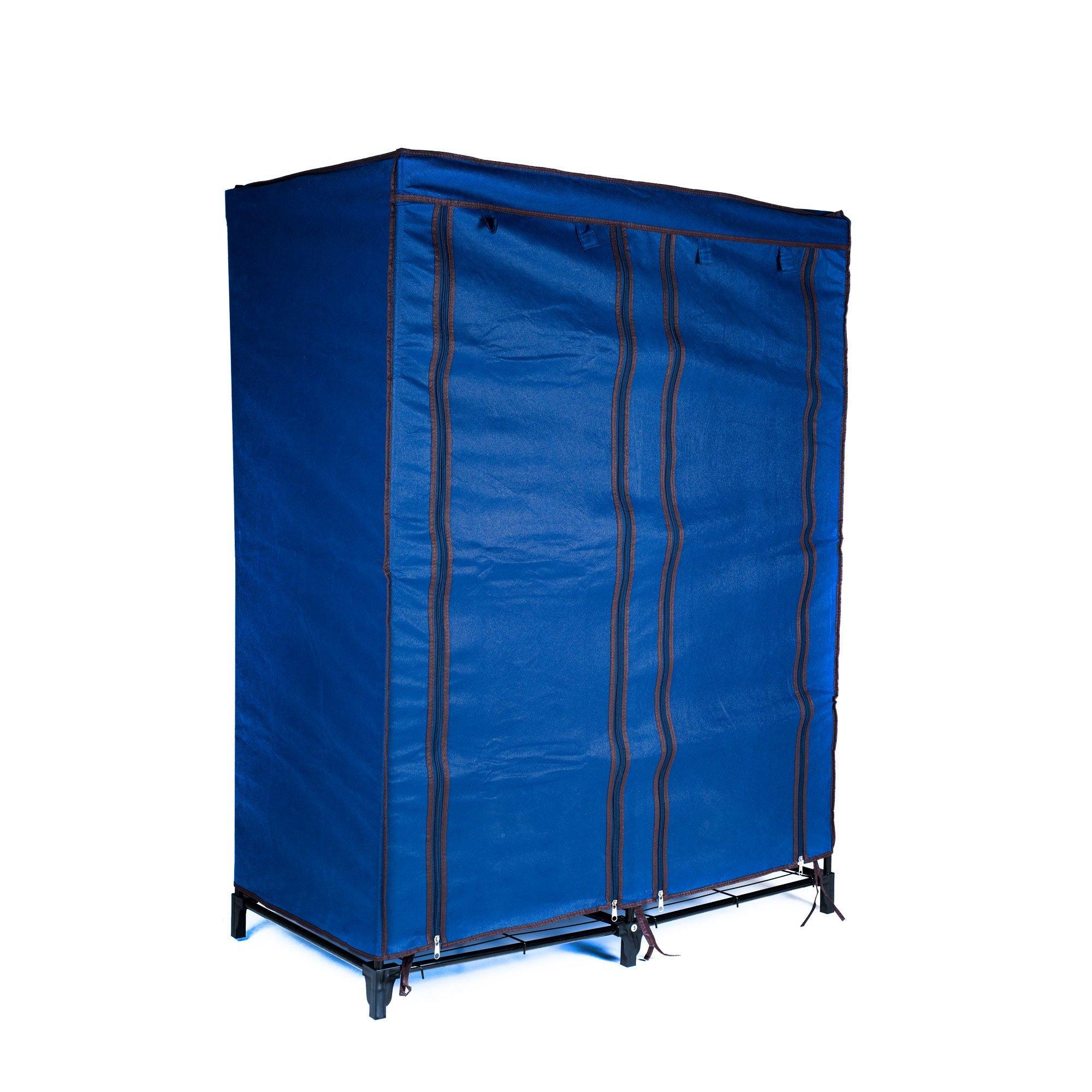 Everyday Home Clothes Closet Portable Wardrobe with Shelves - Blue